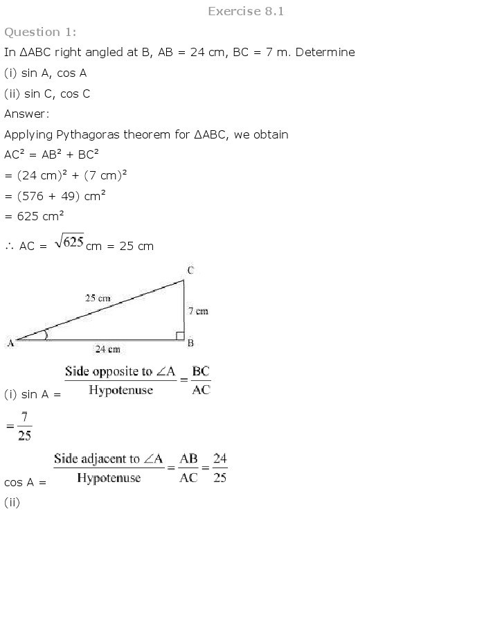 10th, Maths, Introduction to Trigonometry 1