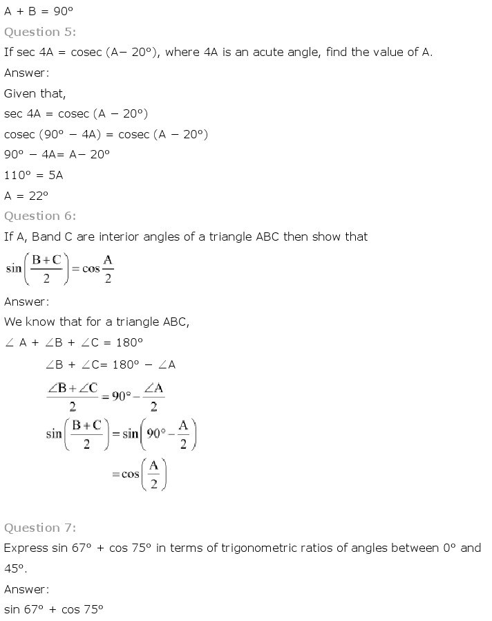 10th, Maths, Introduction to Trigonometry 30