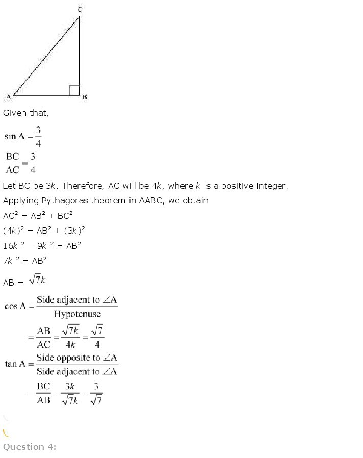 10th, Maths, Introduction to Trigonometry 4