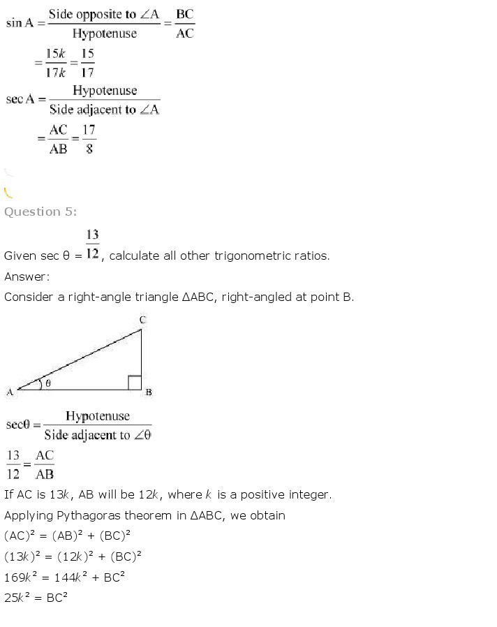 10th, Maths, Introduction to Trigonometry 6