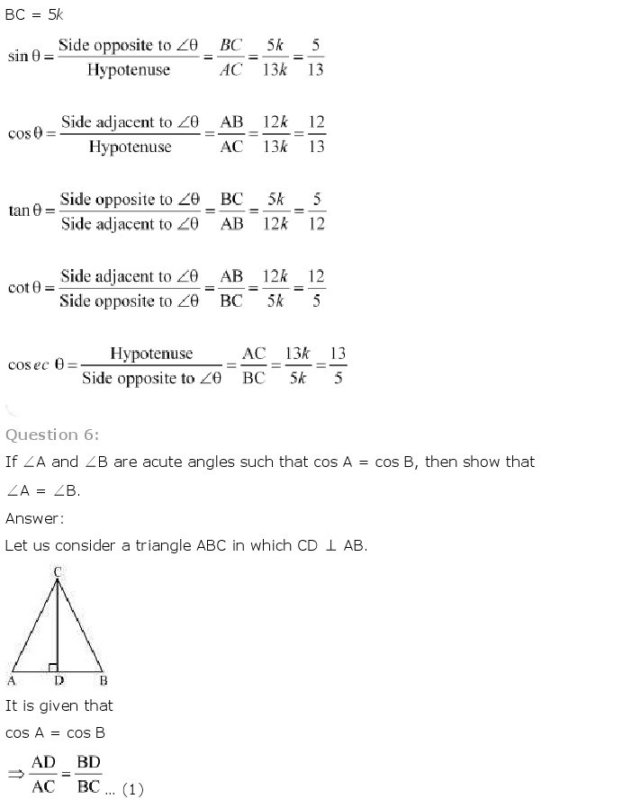 10th, Maths, Introduction to Trigonometry 7