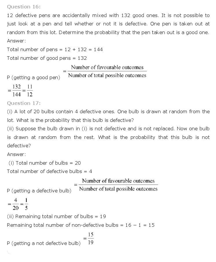 10th, Maths, Probability 11