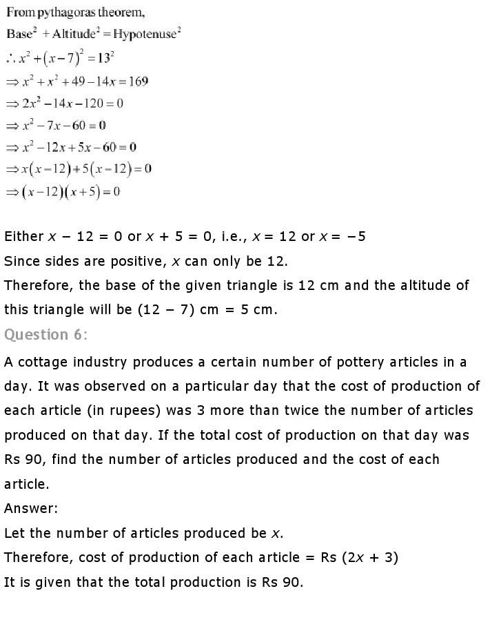 10th, Maths, Quadratic Equations 18