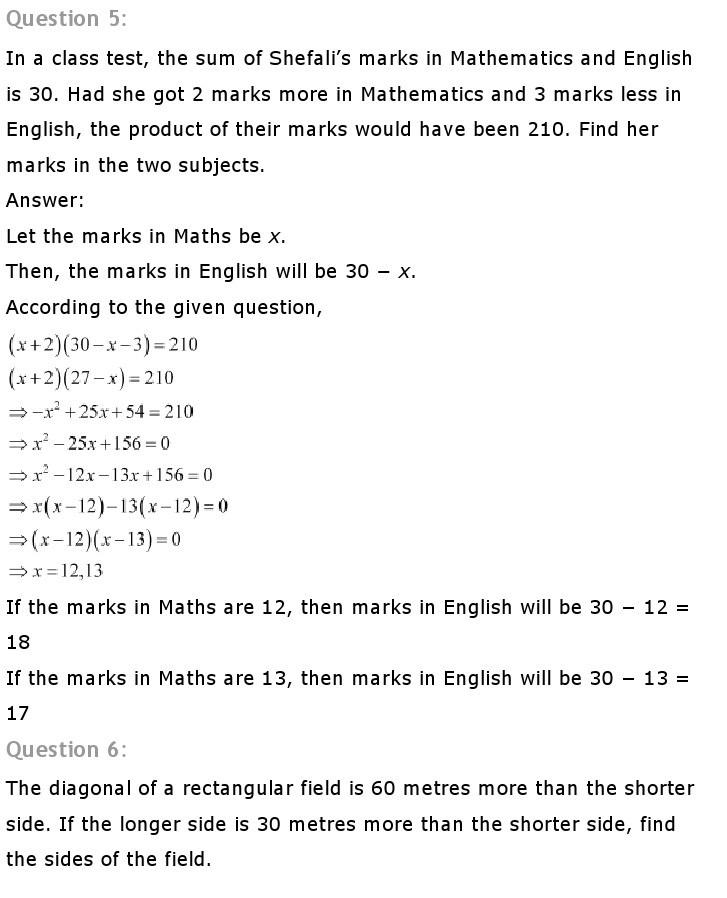10th, Maths, Quadratic Equations 28