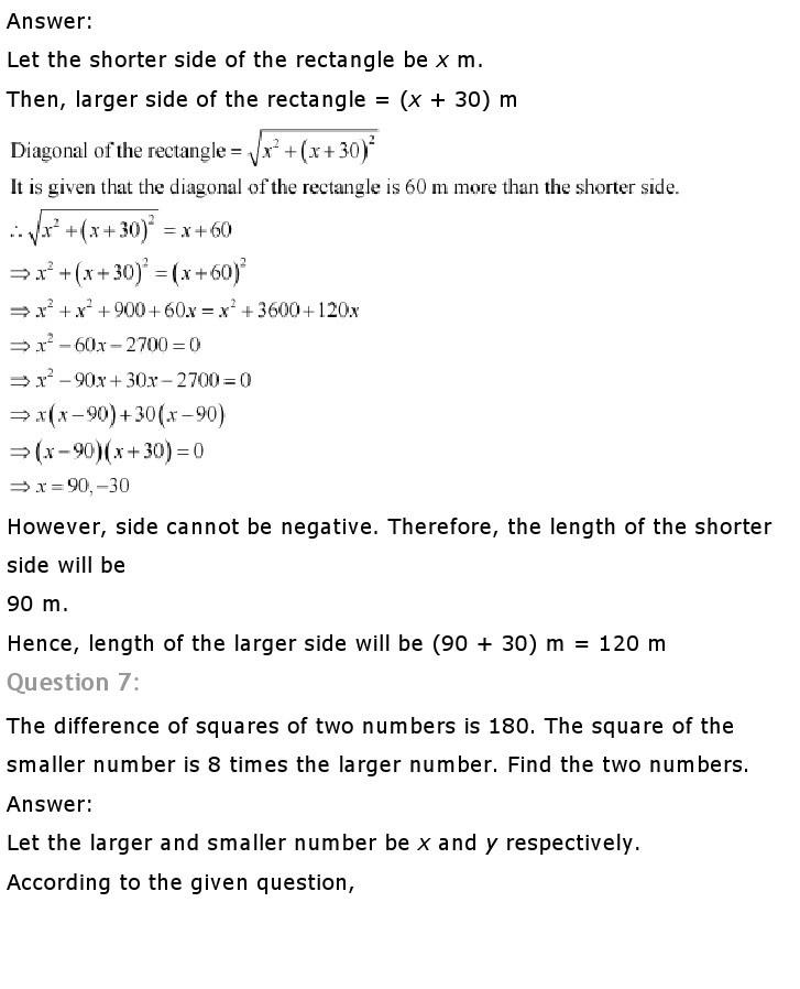 10th, Maths, Quadratic Equations 29