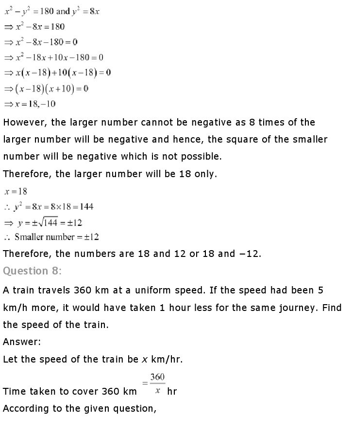 10th, Maths, Quadratic Equations 30