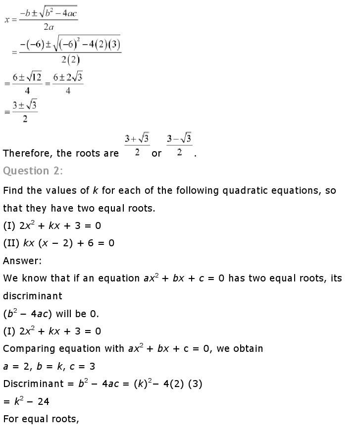 10th, Maths, Quadratic Equations 37