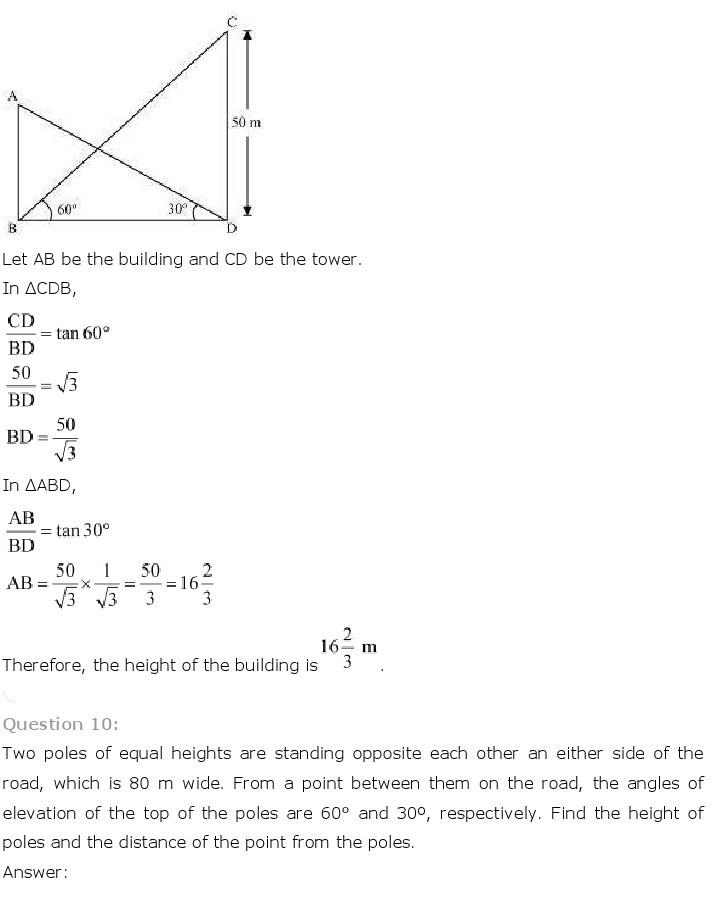 10th, Maths, Some Applications of Trigonometry 10