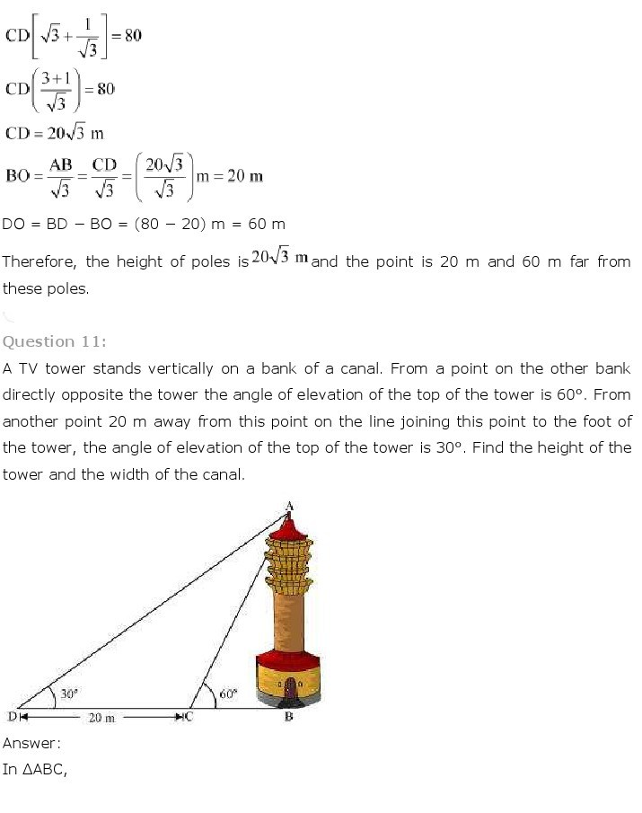 10th, Maths, Some Applications of Trigonometry 12