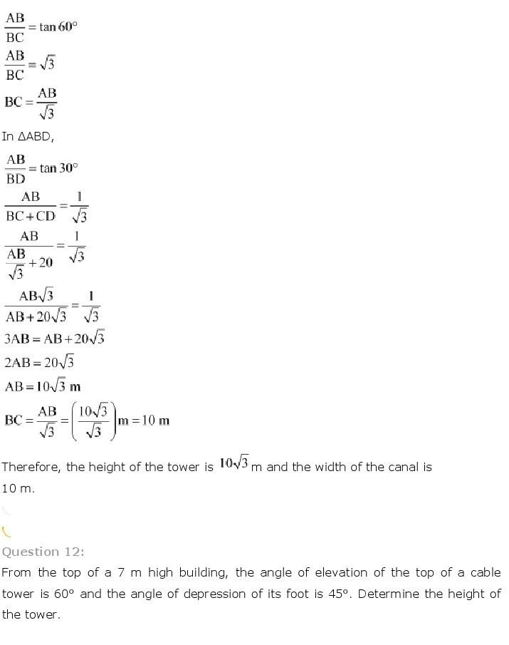 10th, Maths, Some Applications of Trigonometry 14