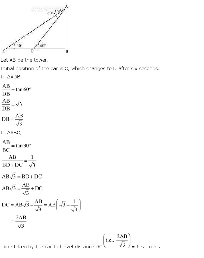 10th, Maths, Some Applications of Trigonometry 18
