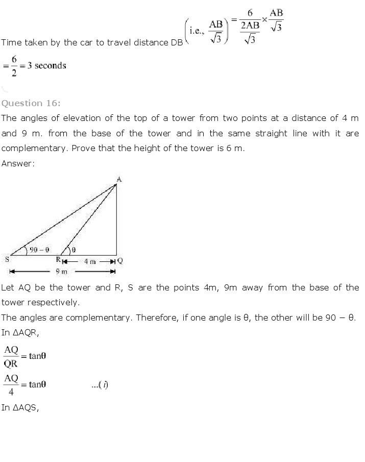 10th, Maths, Some Applications of Trigonometry 19