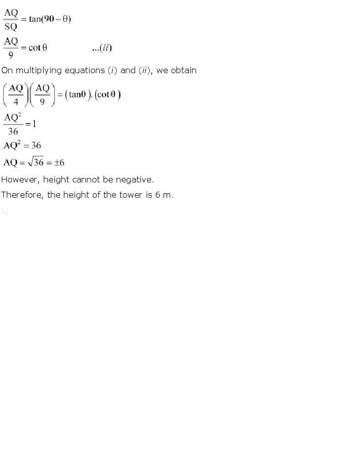 10th, Maths, Some Applications of Trigonometry 20
