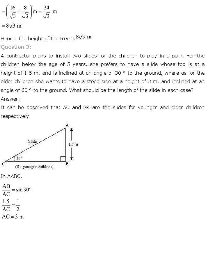 10th, Maths, Some Applications of Trigonometry 3