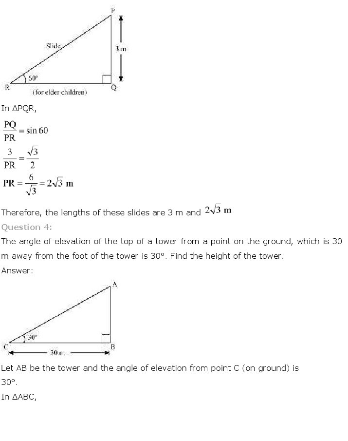 10th, Maths, Some Applications of Trigonometry 4