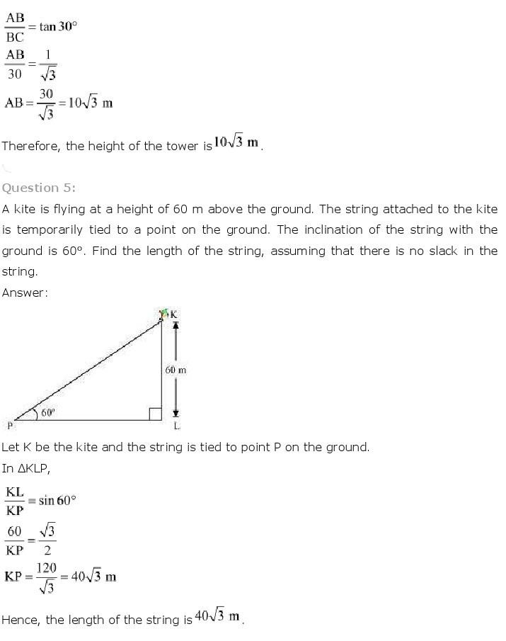 10th, Maths, Some Applications of Trigonometry 5