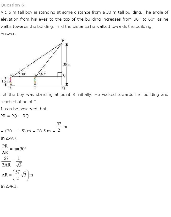 10th, Maths, Some Applications of Trigonometry 6