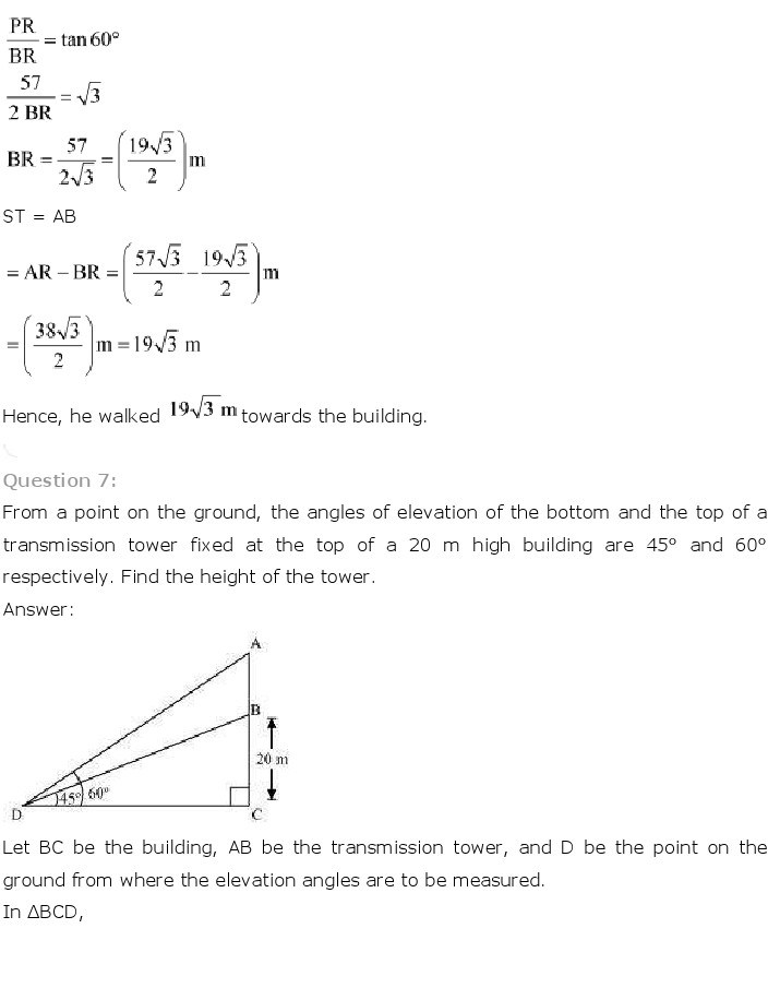 10th, Maths, Some Applications of Trigonometry 7