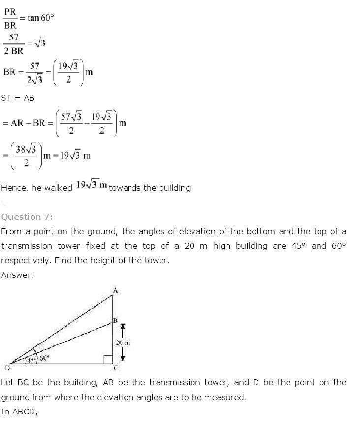 10th, Maths, Some Applications of Trigonometry 7