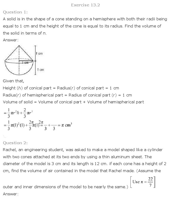 10th, Maths, Surface Areas & Volumes 10