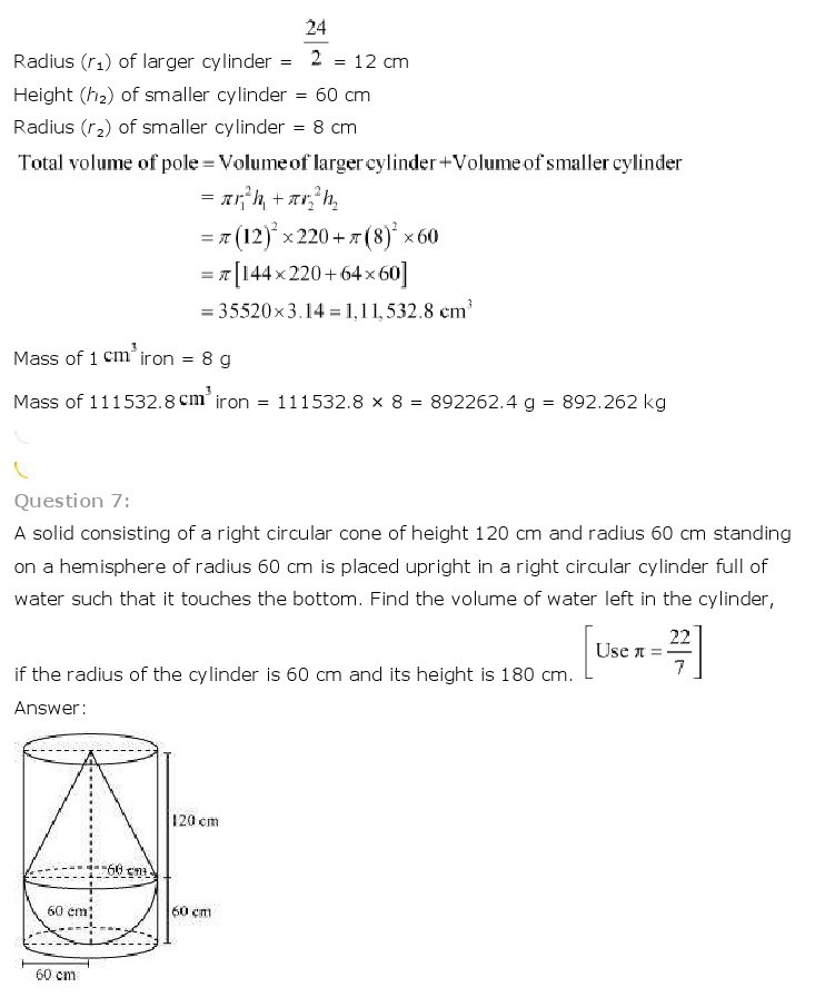 10th, Maths, Surface Areas & Volumes 16