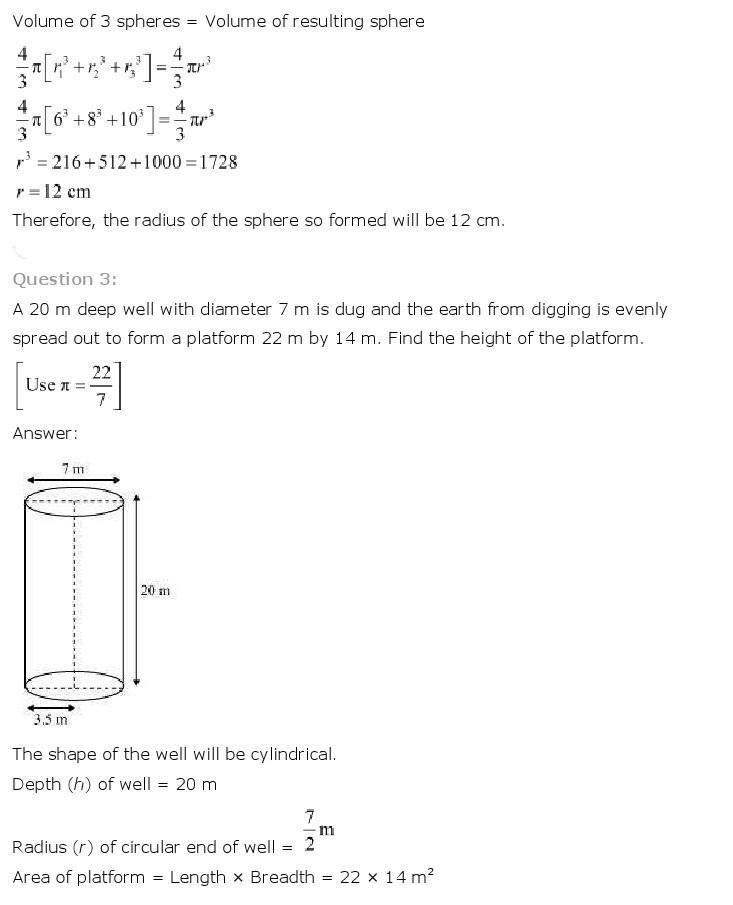 10th, Maths, Surface Areas & Volumes 20