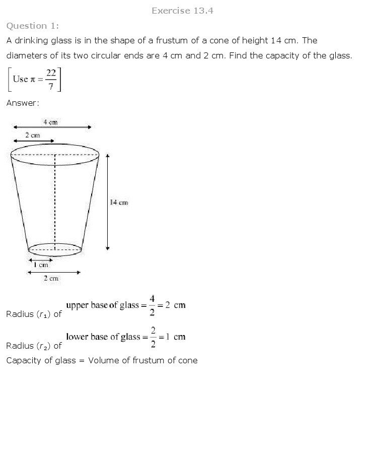 10th, Maths, Surface Areas & Volumes 28
