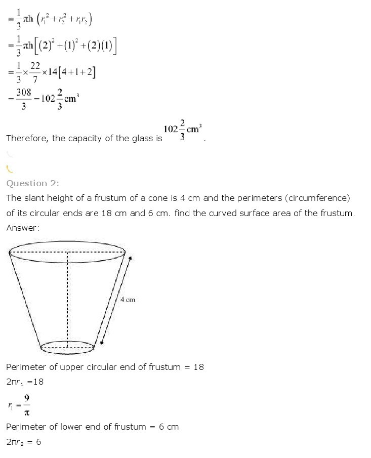 10th, Maths, Surface Areas & Volumes 29