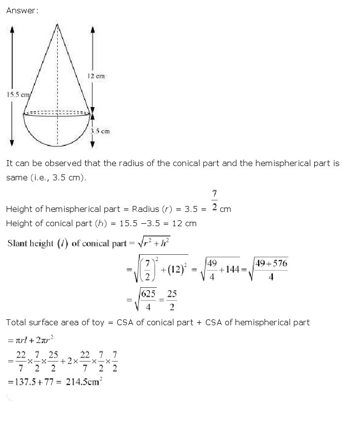 10th, Maths, Surface Areas & Volumes 3