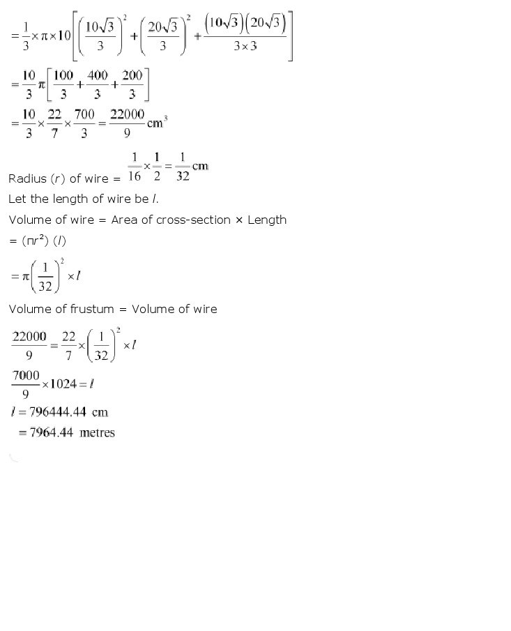 10th, Maths, Surface Areas & Volumes 35