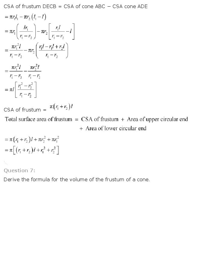 10th, Maths, Surface Areas & Volumes 42