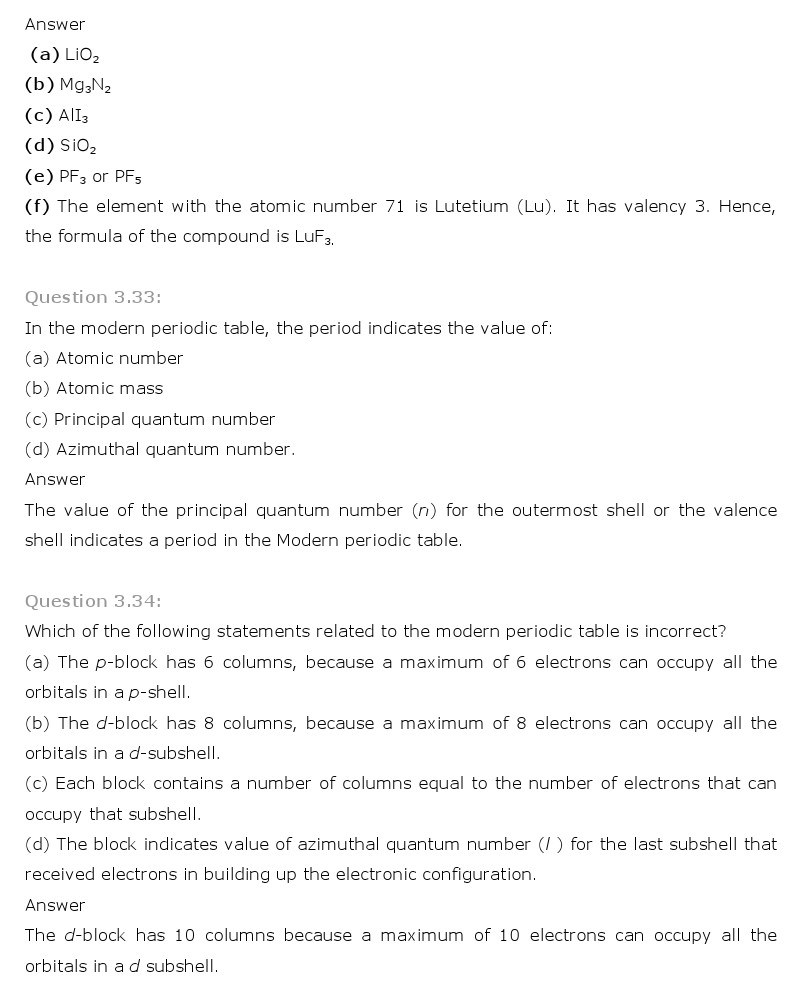 11th, Chemistry, Classification of Elements & Periodicity in Properties 17