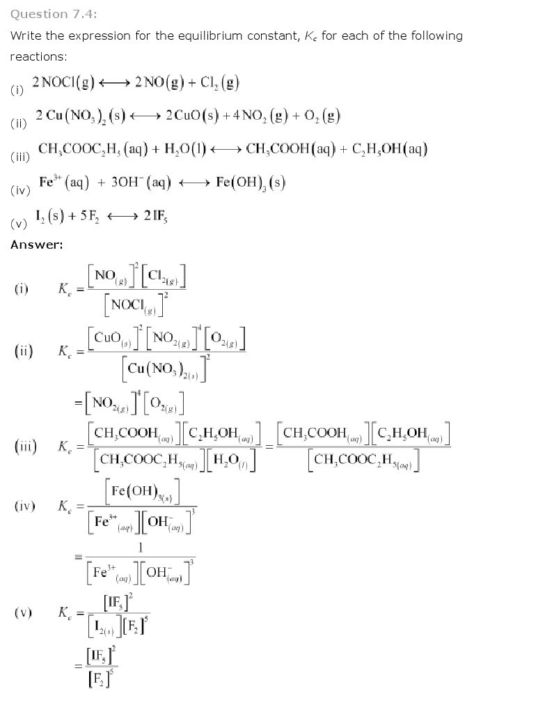Equilibrium, Class 11 Chemistry NCERT Solutions