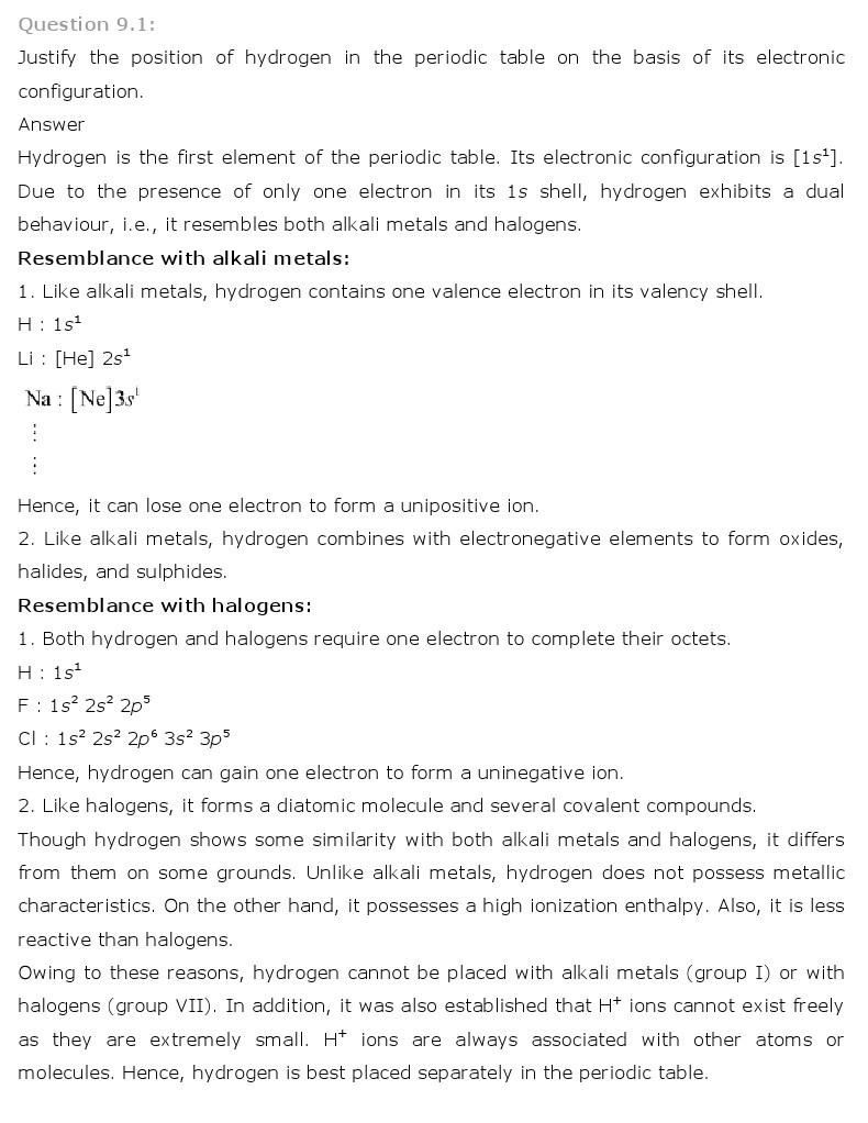 11th, Chemistry, Hydrogen 1