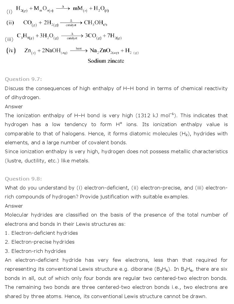 11th, Chemistry, Hydrogen 4