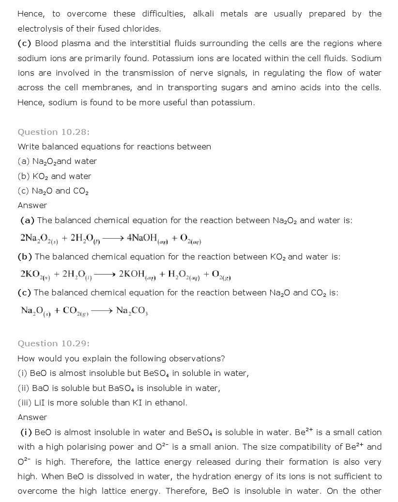 11th, Chemistry, The s- Block Elements 18