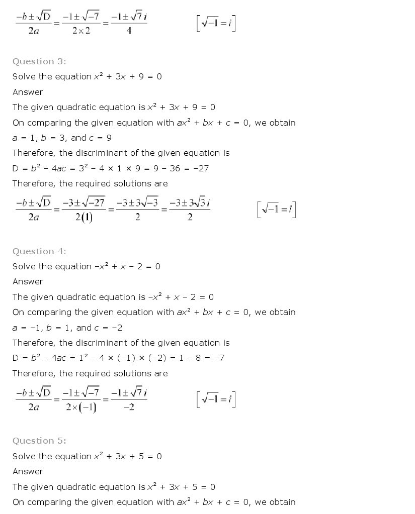 11th, Maths, Complex Numbers & Quadratic Equations 14