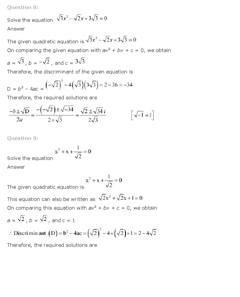 11th, Maths, Complex Numbers & Quadratic Equations 16