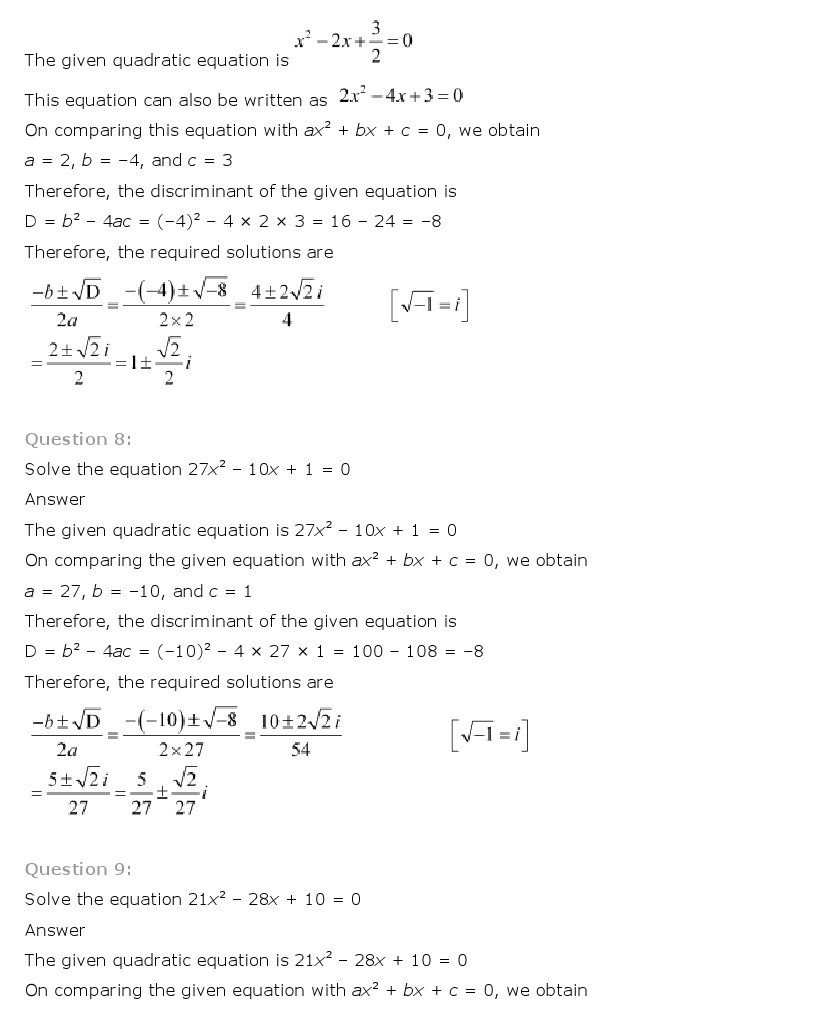 11th, Maths, Complex Numbers & Quadratic Equations 25