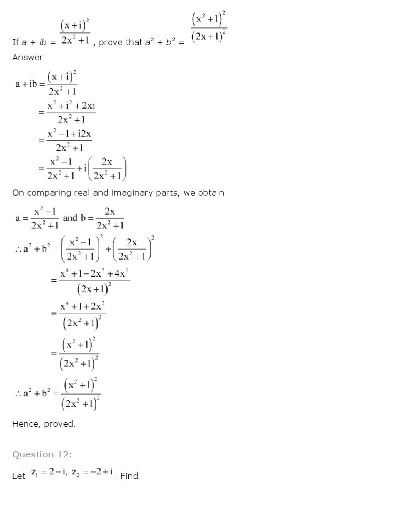 11th, Maths, Complex Numbers & Quadratic Equations 27
