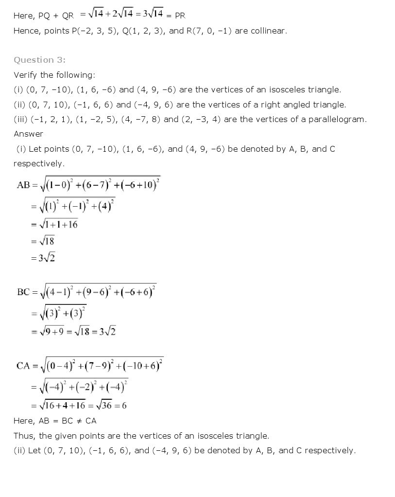 11th, Maths, Introduction to 3 Dimensional Geometry 5
