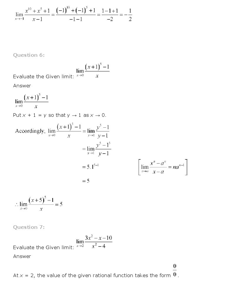 Limits And Derivatives Class 11 Mathematics NCERT Solutions – Evaluating Limits Worksheet