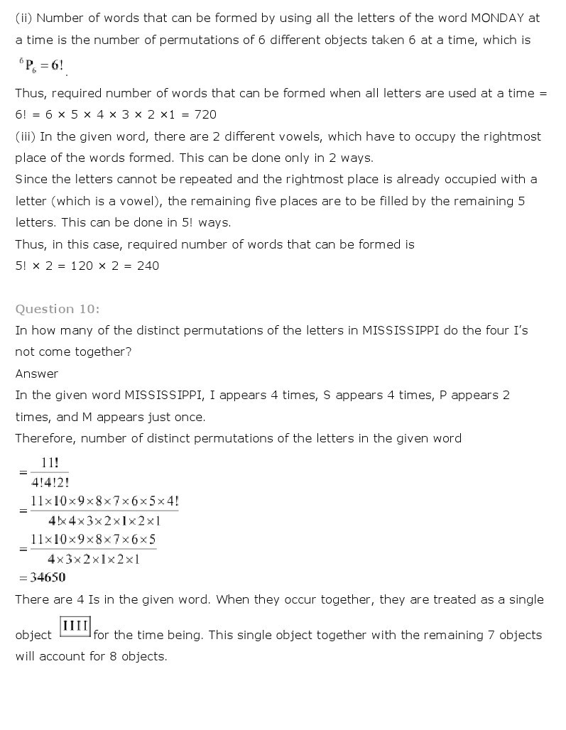 11th, Maths, Permutations & Combinations 12