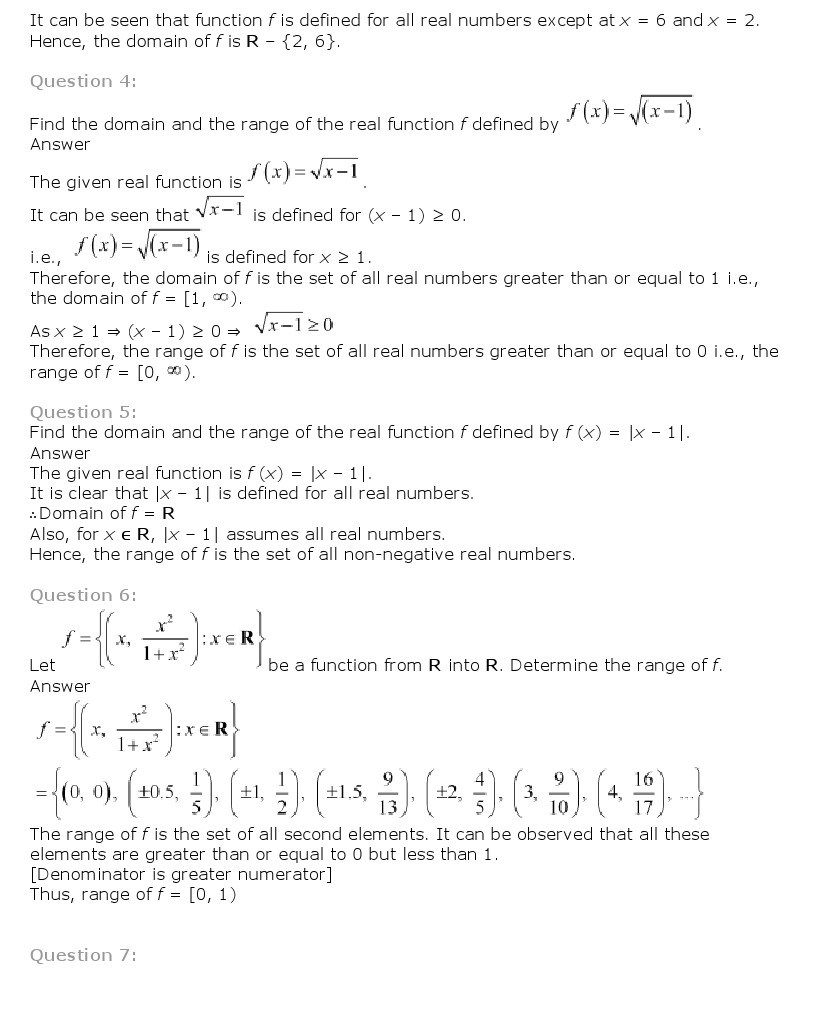 11th, Maths, Relations & Functions 11