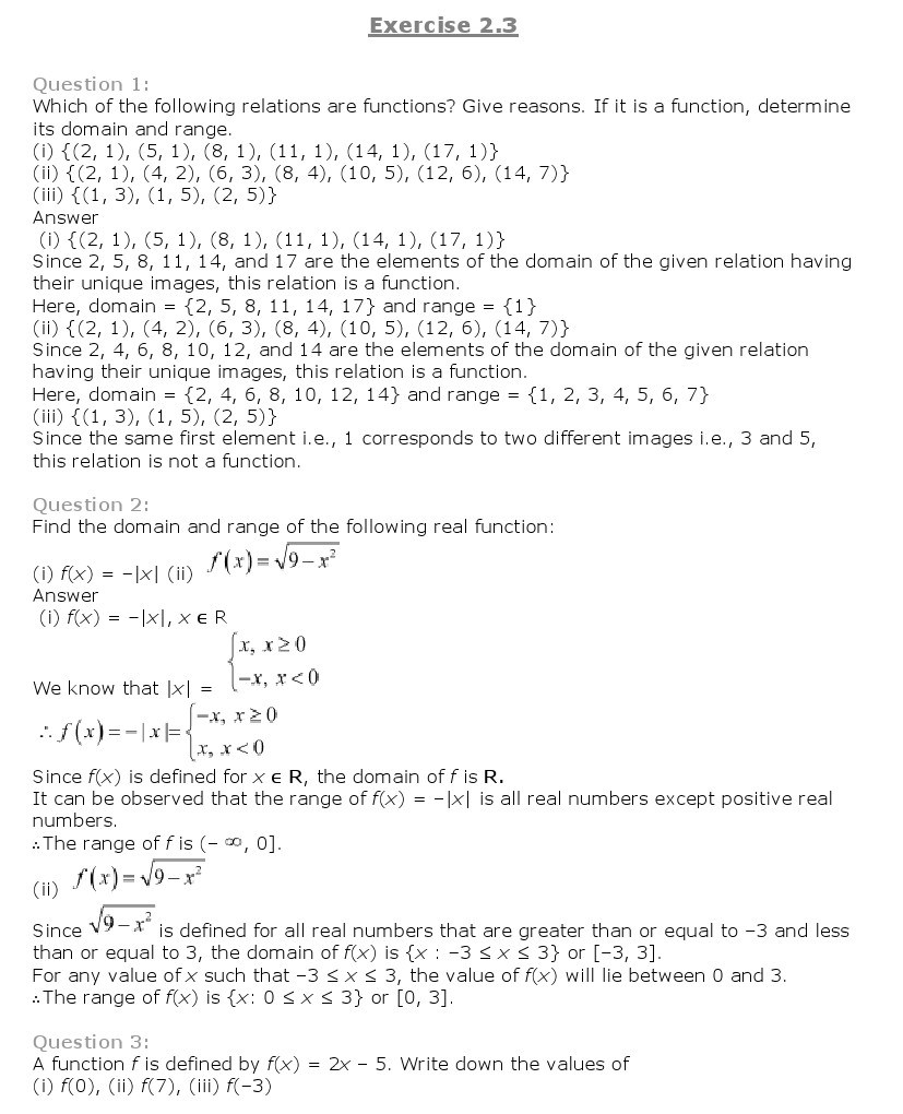 11th, Maths, Relations & Functions 6