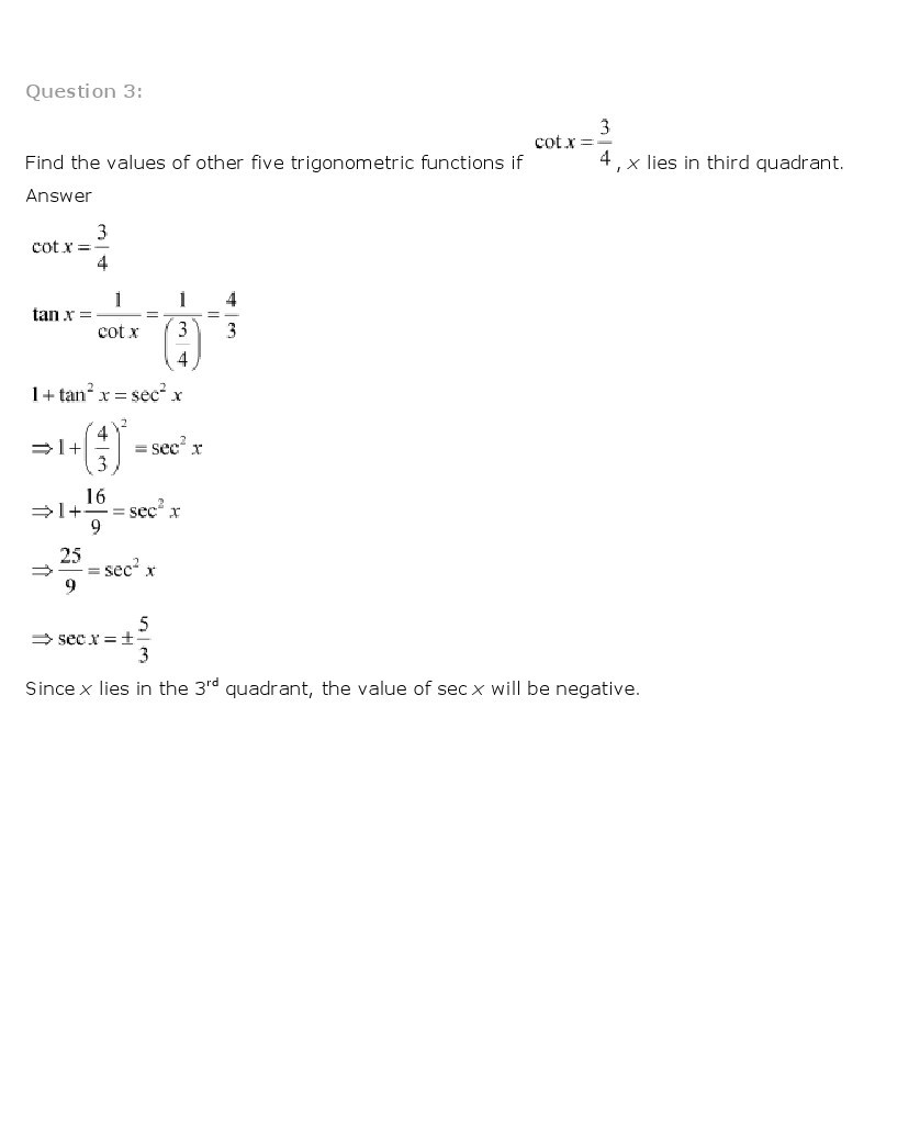 11th, Maths, Trigonometric Functions 9