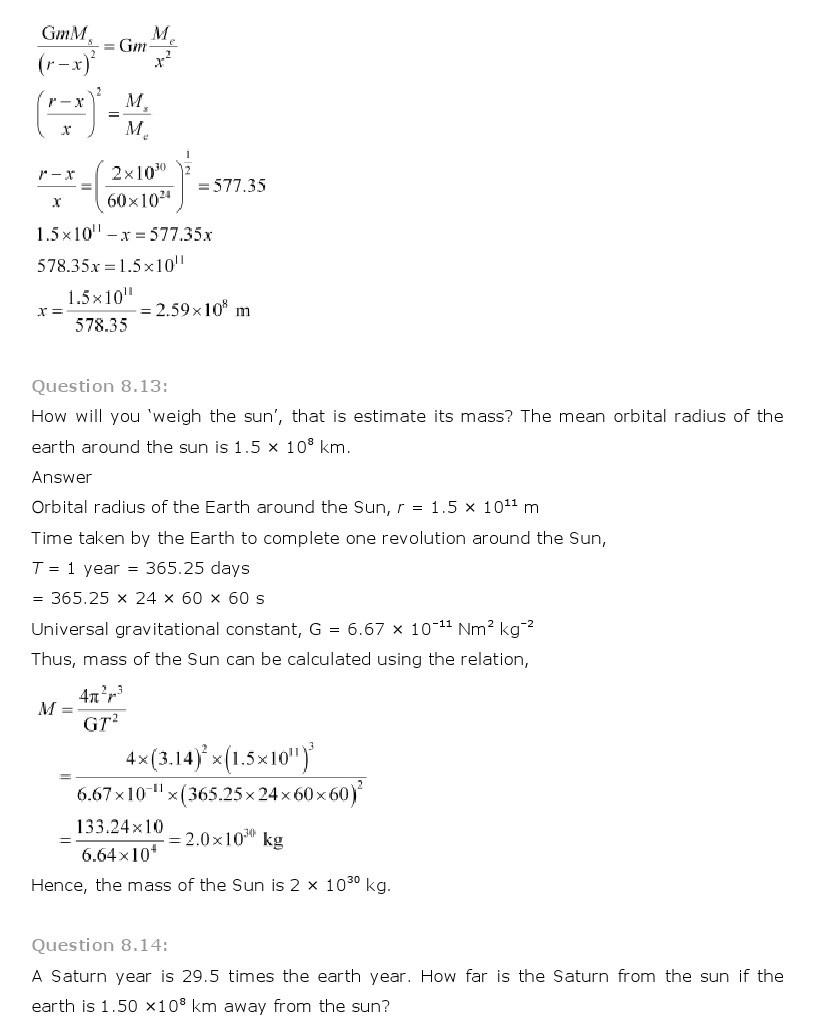11th, Physics, Gravitation 11