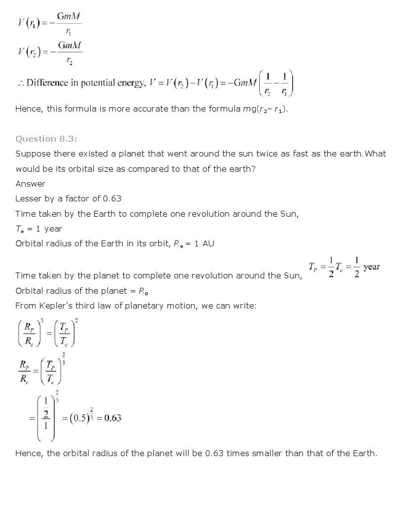 11th, Physics, Gravitation 3