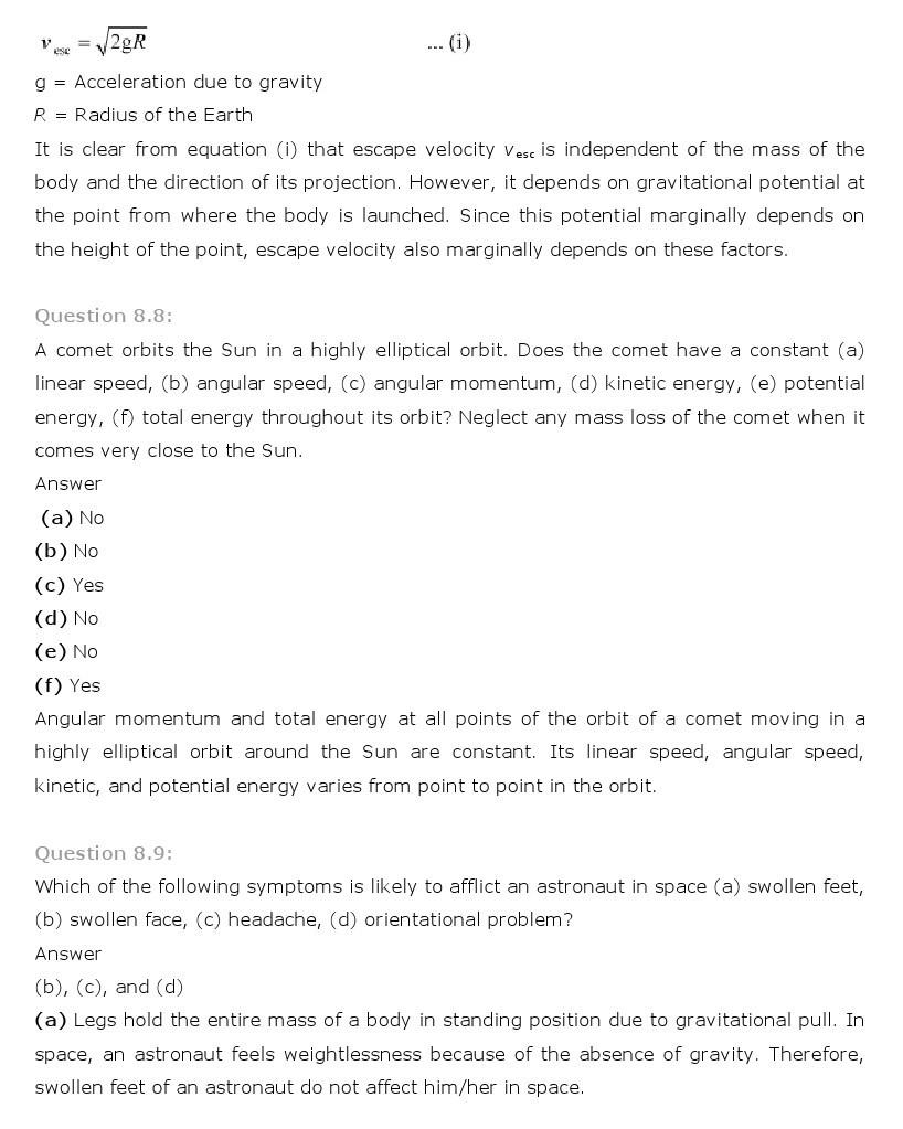 11th, Physics, Gravitation 7