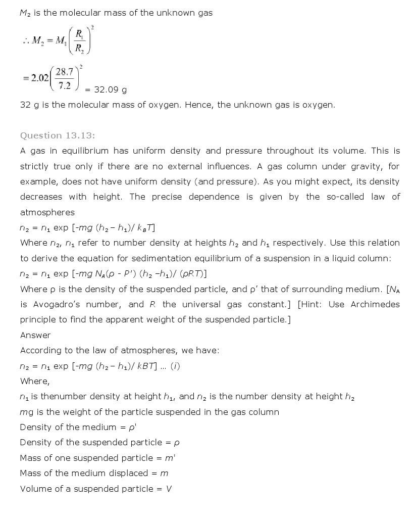 11th, Physics, Kinetic Theory 13